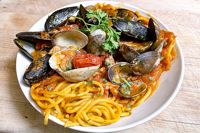 Seafood pasta made with mussels and clams. There's usually shrimp, but the restaurant is conscientious about catering to food allergies.