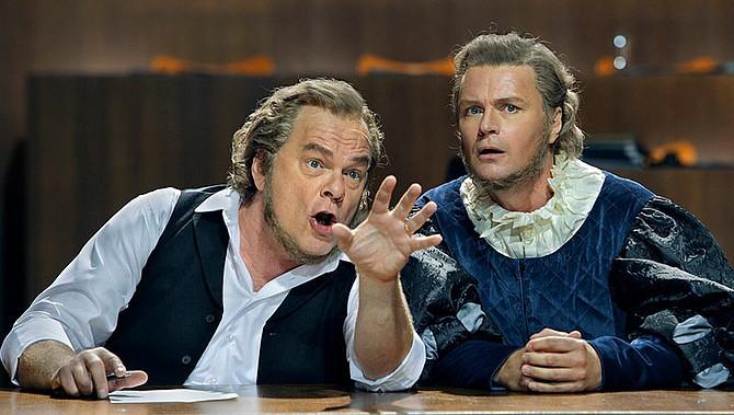 Hans Sachs (left) at 2017 Bayreuth Festival - Image by Photo: Jörg Schulze / Bayreuth Festival