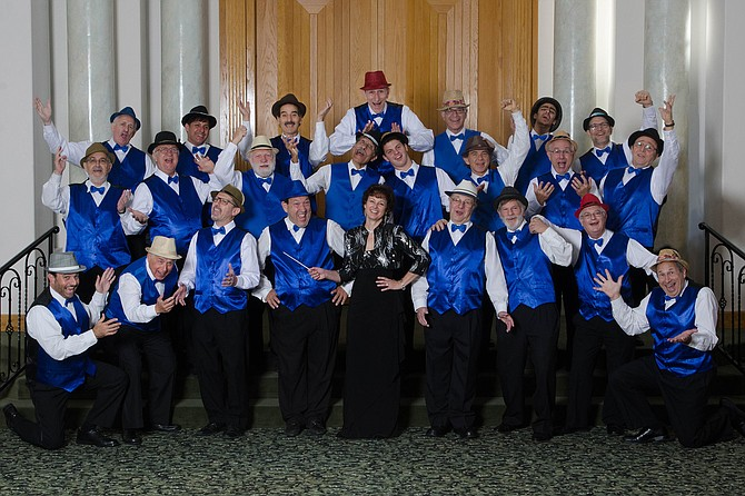 """Ruth Webber, conductor of the San Diego Jewish Men's Choir: """"They like doing the dance moves and adding schmaltz to the show."""""""