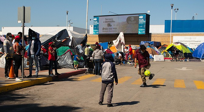 Since February 19 around five hundred migrants have set up camp in the Mexican side of the Port of Entry. - Image by Luis Gutierrez