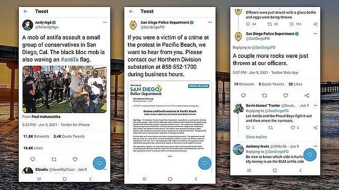 Posts on Twitter during the January 9 protest
