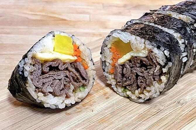 Marinated beef kimbap, also known as Korean sushi