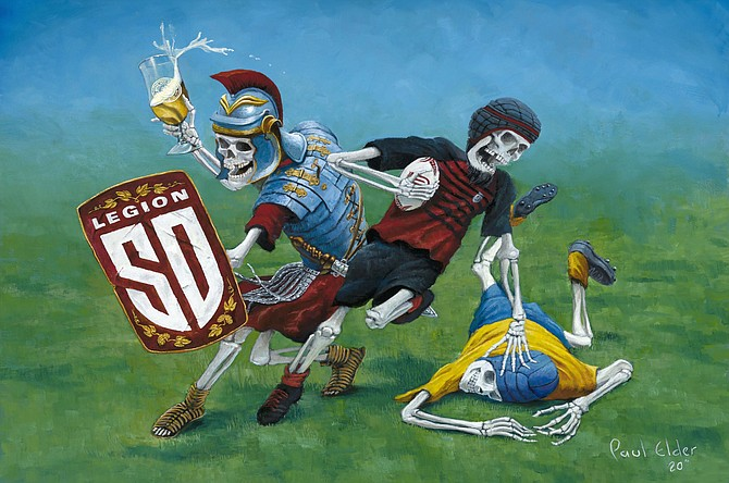 Paul Elder's label art for Ballast Point's Legion Lager, the official beer of the San Diego Legion rugby team.