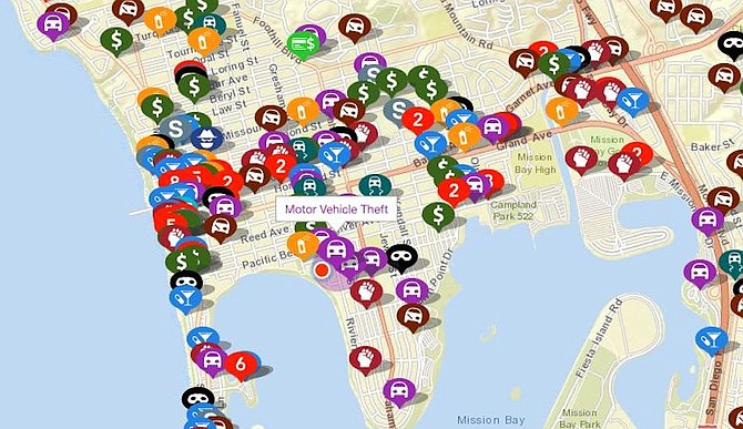 Last four weeks of crime in area around Mission Bay