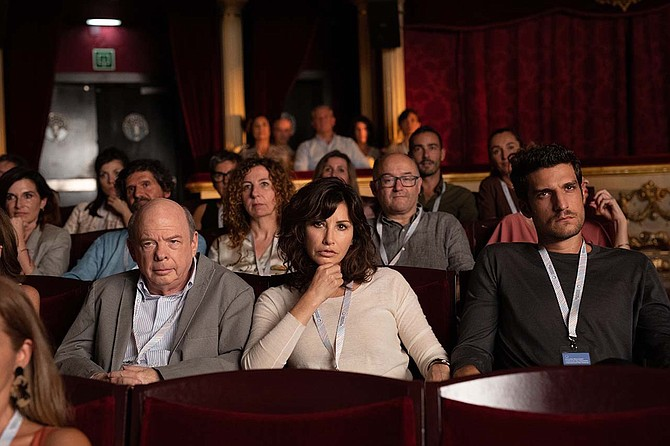 Rifkin's Festival: Homunculus makes good! Wallace Shawn (L) with Gina Gershon and Louis Garell.