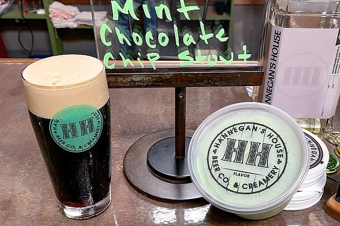 A pint of Irish stout, and a pint of mint chocolate chip stout ice cream made with it