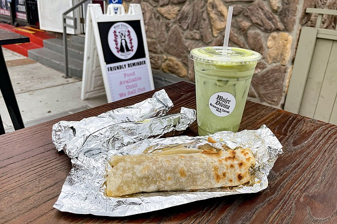 Small, simple $3.75 burritos and a matcha latte