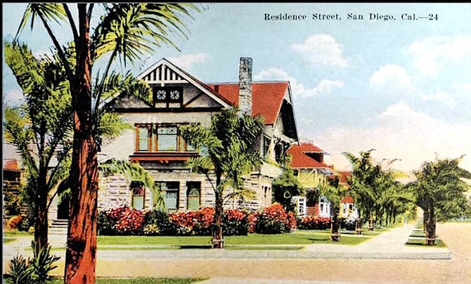 The house, featured on a 1909 postcard, melds Tudor Revival, Craftsman, and Richardsonian Romanesque styles.