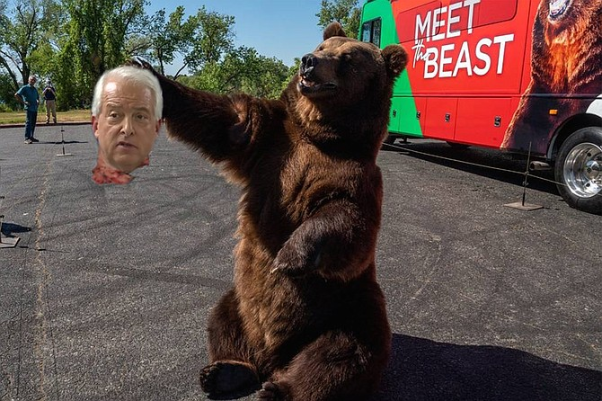 """Critics were quick to criticize Rancho Santa Fe resident and gubernatorial hopeful John Cox for his decision to bring a 1000-pound bear to his campaign kickoff event, with some voicing their objections at the event itself. Whether or not Cox took their criticism to heart, it seems unlikely that he will repeat the stunt, since the bear removed his head just minutes into his kickoff speech. """"Governor Newsom thought he could poke the bear and get away with it,"""" said Cox immediately before his demise, poking the bear for illustrative effect. """"He thought he could abuse the people of the great state of California and get away with it, locking them down, taking their freedoms, playing with their lives and livelihoods. Well, he can't, and I'm here toAAIIIIIEEEEEE."""""""