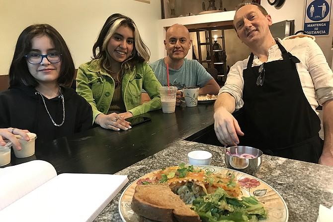 Diana, 11, Ana ,15, dad Joe, owner Roberto Etrusco, my lasagna.