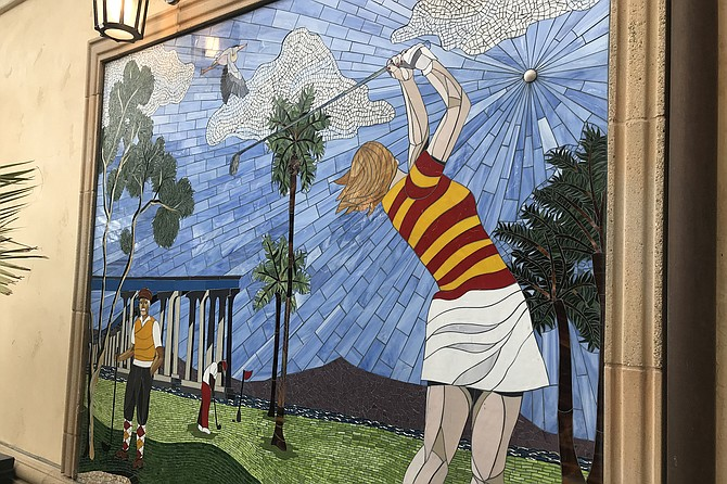 """""""Shattering the glass ceiling"""" mural welcomes golfers to the modernized Coronado Golf Club."""