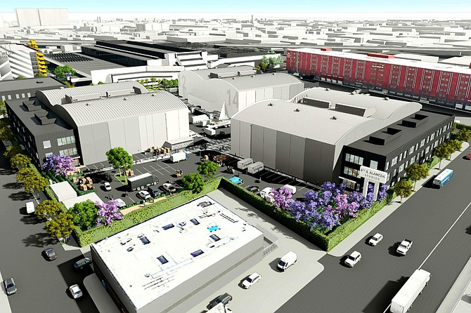 A rendering of the proposed redevelopment of the Los Angeles Times printing plant Credit Atlas Capital Group.