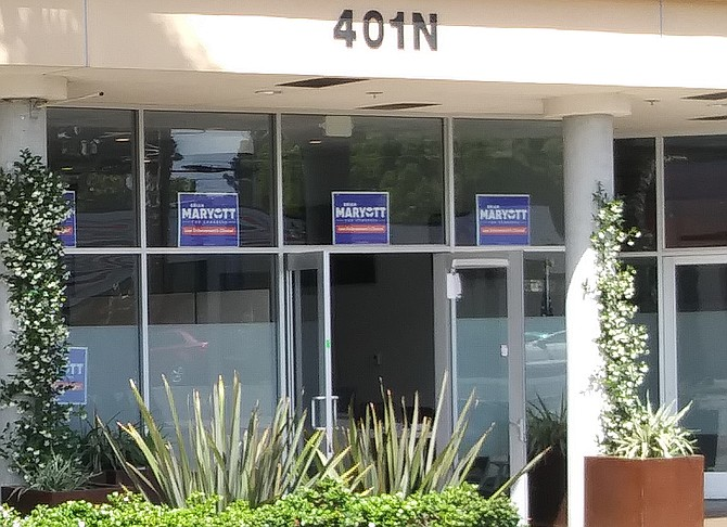 Brian Maryott Congressional campaign headquartered in same Oceanside complex as Chris Rodriguez mayoral campaign.