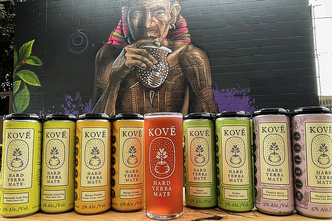 A mural by the Tijuana artist, Mode, overlooks the new drinking venue being opened by Kové Hars Yerba Mate on June 18.