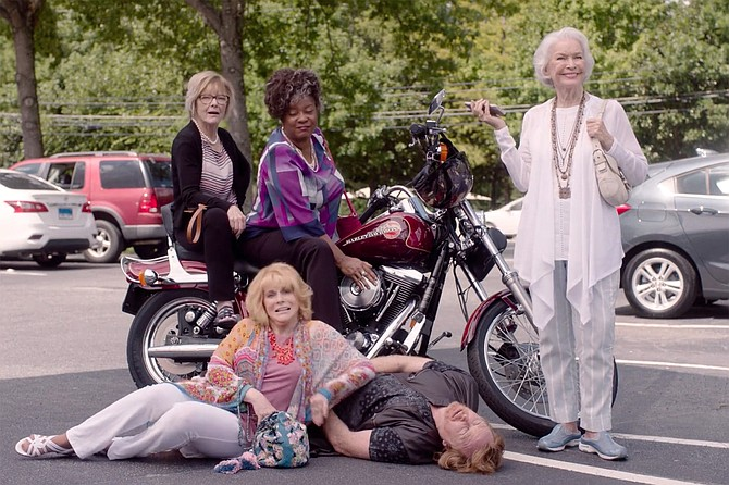 Queen Bees and a downed drone: Jane Curtin, Loretta Devine, Ellen Burstyn, Ann-Margret, and Courtney Gaines.
