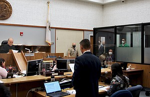 Judge Armour, prosecutor Watanabe, defendant Flores in court today. Photo by Eva Knott.