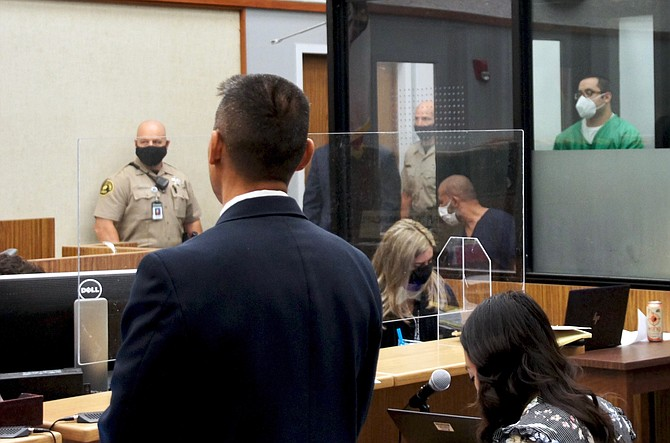 Watanabe and defendant Flores in court today. Photo by Eva Knott.