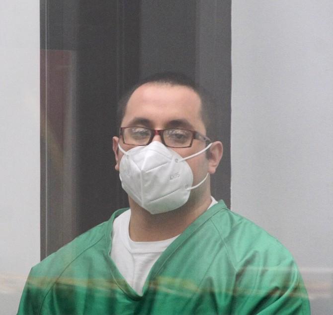 Roberto Flores in court June 23, 2021. Photo by Eva Knott.