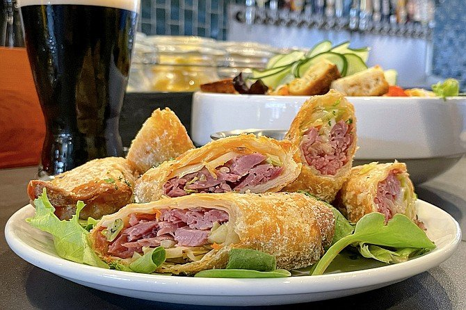 Irish egg rolls, filled with corned beef and cabbage