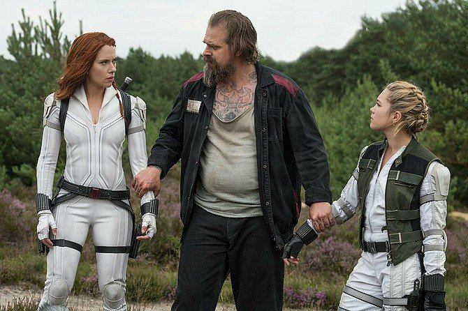 Black Widow: Scarlet Johansson, David Harbour, and Florence Pugh prove the family that slays together stays together.