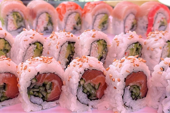 Sushi roll after roll: there are 44 different specialty rolls on the menu at Konnichiwa Sushi.