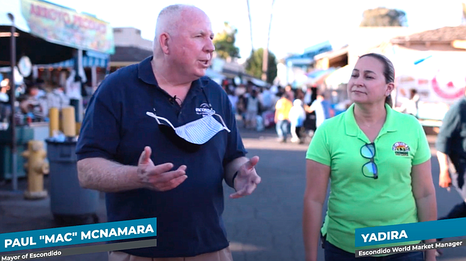 The channel features a video of McNamara promoting the Escondido World Marketplace.