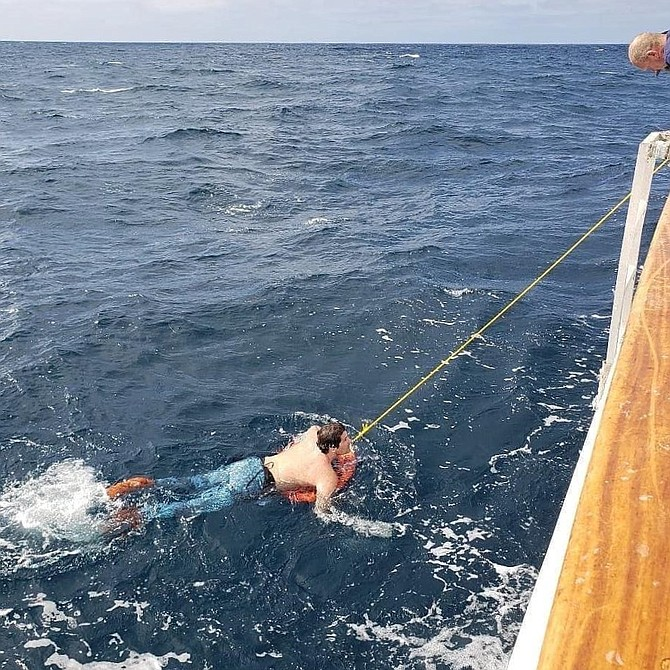 After spending over four hours adrift at sea, missing free diver Alexandro Crosthaite is pulled aboard the Ocean Odyssey.