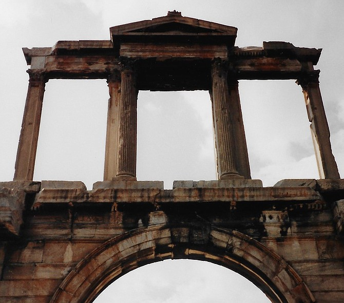 Built in 131-32 A.D., Hadrian's Arch spans an ancient road in the center of Athens, southeast of the Acropolis.