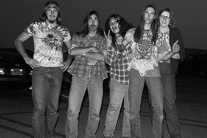 Our crew at The Grateful Dead, Brock, Frank, Don, Hans and Tammy, Irvine Meadows 1985
