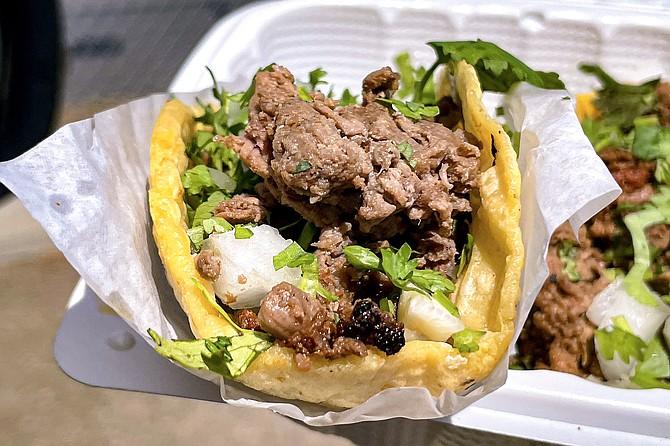 Crack Taco Shop's signature carne asada, made with wine-marinated tri-tip
