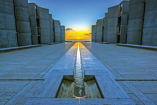 Twice a year the sunset lines up perfectly with the water channel at the Salk Institute in La Jolla: on the Fall Equinox and the Summer Equinox.