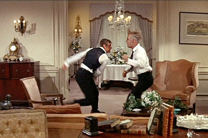 The Carpetbaggers: duking doubles George Peppard and Alan Ladd (or reasonable facsimiles of each).