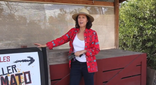 Mary Page tells the story of her family's organic farm in Ramona, California, famous for its Killer Tomatoes signage.
