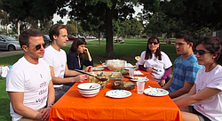 Members of a San Diego vegan social group hold a potluck event in the park and chat about their relationships to the lifestyle.
