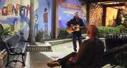 "Dave Sheldon performs Bob Dylan's ""Wagon Wheel"" on the Walkway of Stars in La Mesa."