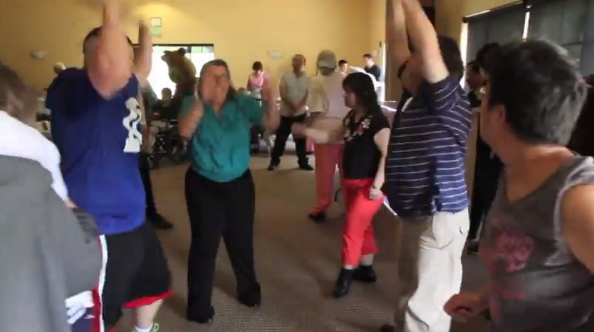 Residents of Noah Homes get their groove on.