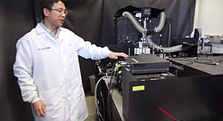 """Dr. Shaochen Chen's """"homemade"""" bioprinter in the UCSD laboratory where he works with his team to """"print"""" living tissue."""