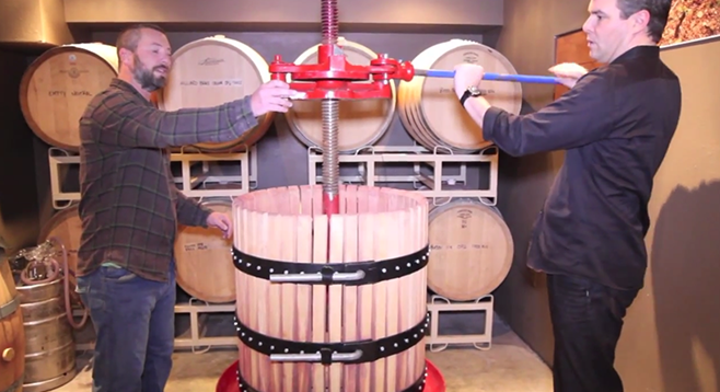 Will Perri and Mark Olsen talk about the Italian, manual basket press they use at their urban winery in San Diego.