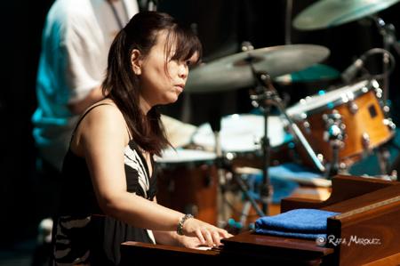 "Organist Akiko Tsuruga performing ""Alligator Boogaloo"" with Lou Donaldson on alto sax, Randy Johnston on guitar, and Fukushi Tainaka on drums"