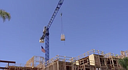 Shot of crane work at North Park construction site.